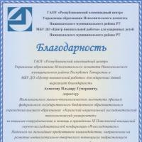 Благодарность директору Ахметову Ильдару Гумеровичу